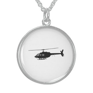 Helicopter Chopper Silhouette Customize Color Sterling Silver Necklace