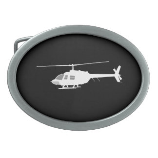 Helicopter Chopper Silhouette Flying Black Belt Buckle