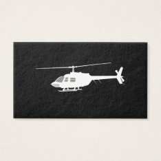 Helicopter Chopper Silhouette Flying Black Business Card at Zazzle