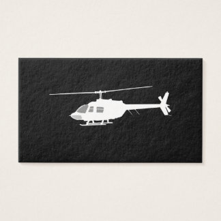 Helicopter Chopper Silhouette Flying Black Business Card