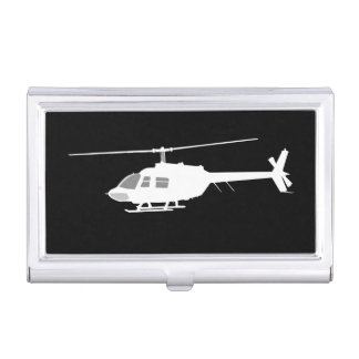 Helicopter Chopper Silhouette Flying Black Business Card Cases