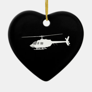 Helicopter Chopper Silhouette Flying Black Ceramic Ornament