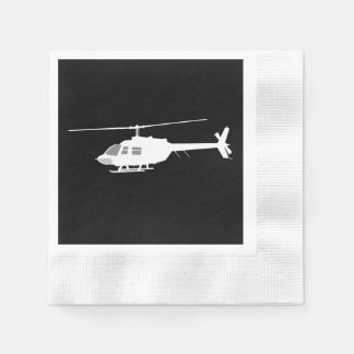 Helicopter Chopper Silhouette Flying Black Paper Napkin