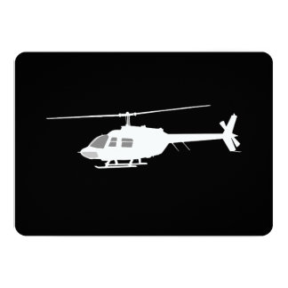 Helicopter Chopper Silhouette Flying 5x7 Paper Invitation Card