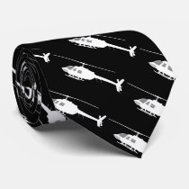 Helicopter Chopper Silhouette Flying Neck Tie