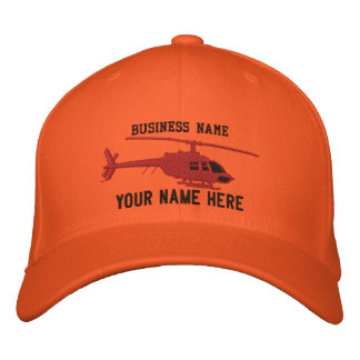 Helicopter Chopper Silhouette Personalize This Embroidered Baseball Cap