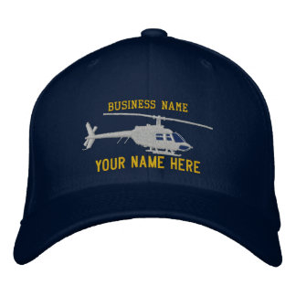 Helicopter Chopper Silhouette Personalize This Embroidered Baseball Hat