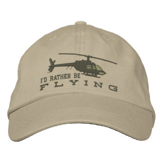 Helicopter Chopper Silhouette Rather Be Flying Embroidered Baseball Hat