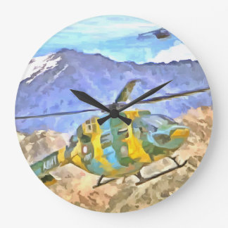 Helicopter coming and going large clock