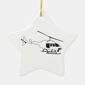 HELICOPTER Double-Sided STAR CERAMIC CHRISTMAS ORNAMENT