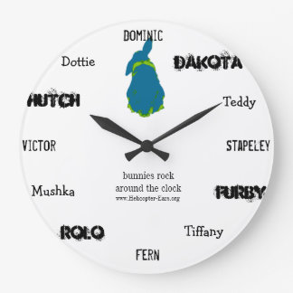 """Helicopter Ears """"Bunnies Rock Around the Clock"""" Large Clock"""