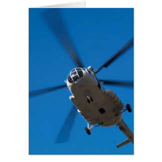 Helicopter Hovering in Blue Sky Card