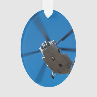 Helicopter Hovering in Blue Sky Ornament
