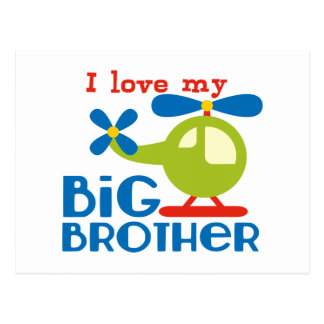 Helicopter I Love my Big Brother Postcard