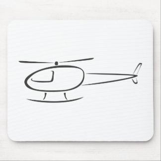 Helicopter in Swish Drawing Style Mouse Pad
