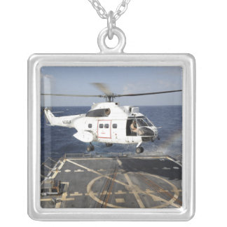 Helicopter lands aboard the Arleigh Burke-class Square Pendant Necklace