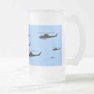 HELICOPTER 16 OZ FROSTED GLASS BEER MUG