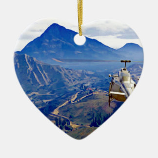 Helicopter one Mountain Ceramic Ornament