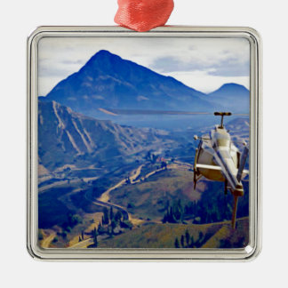Helicopter one Mountain Metal Ornament