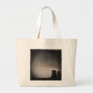 helicopter over new york bay large tote bag