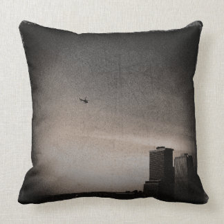 helicopter over new york bay throw pillow