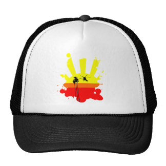 Helicopter Palm Tree and Sunset Trucker Hat