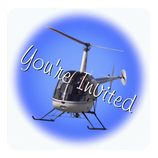 """Helicopter Party Invitations Helicopter RSVP Card 5.25"""" Square Invitation Card"""