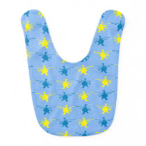 Helicopter Pattern Yellow Blue Print Bib