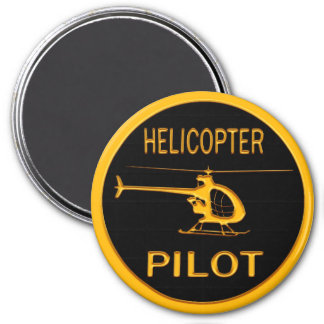 Helicopter Pilot 3 Inch Round Magnet