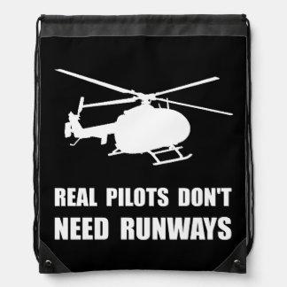 Helicopter Pilot Runways Drawstring Backpack