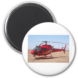Helicopter, red 2 inch round magnet