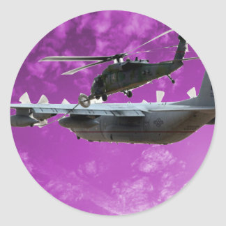 Helicopter Refuels From C-130 Classic Round Sticker