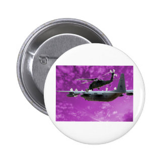 Helicopter Refuels From C-130 Pinback Button