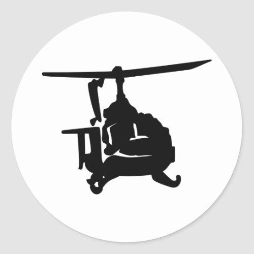 Helicopter Silhouette Classic Round Sticker