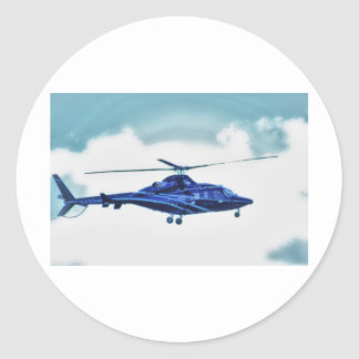 Helicopter Sky Clouds HDR Pictures Photo Shirt Mug Round Stickers
