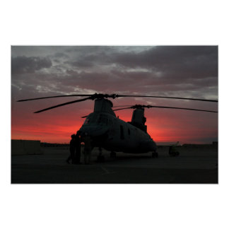 Helicopter Sunrise Poster