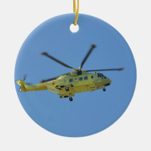 Helicopter to The Isles of Scilly Double-Sided Ceramic Round Christmas Ornament