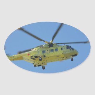 Helicopter to The Isles of Scilly Oval Sticker