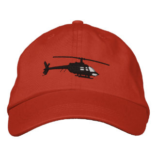 Helicopter Urban Chopper Silhouette Flying Embroidered Baseball Cap