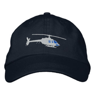 Helicopter Urban Chopper Silhouette Flying Embroidered Baseball Hat