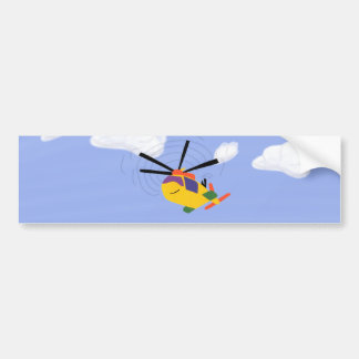 Helicopter Whimsical Cartoon Art Car Bumper Sticker
