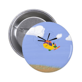 Helicopter Whimsical Cartoon Art Buttons