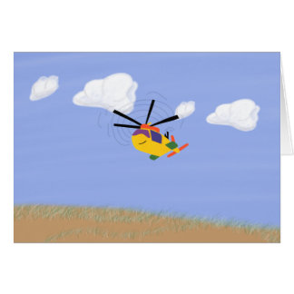 Helicopter Whimsical Cartoon Art Card