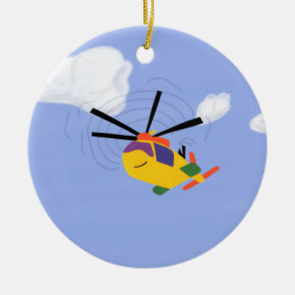 Helicopter Whimsical Cartoon Art Ceramic Ornament