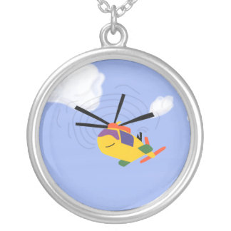 Helicopter Whimsical Cartoon Art Personalized Necklace