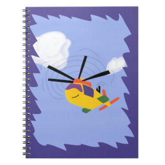 Helicopter Whimsical Cartoon Art Spiral Notebook