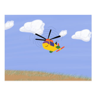 Helicopter Whimsical Cartoon Art Postcard
