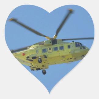 Helicóptero a las islas de Scilly Pegatina En Forma De Corazón