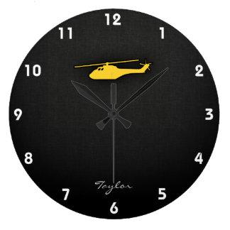 Helicóptero ambarino amarillo reloj redondo grande