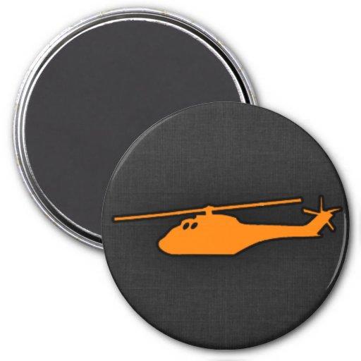 Helicóptero anaranjado iman para frigorífico